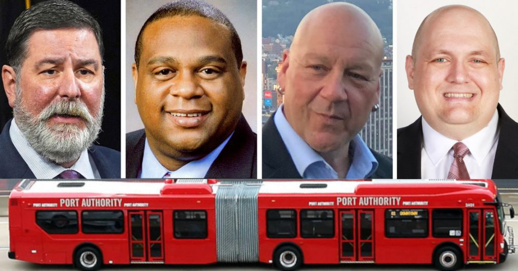 Image includes photographs of the 4 current mayoral candidates: Bill Peduto, Ed Gainey, Tony Moreno, and Mike Thompson. Over the image of a large red articulated bus.